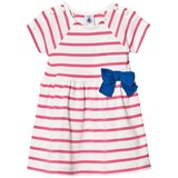 Petit Bateau Pink Stripe Jersey Dress with Bow Detail