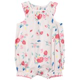 Petit Bateau Pink Floral Cotton Bubble With Frill Bottom