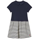 Petit Bateau Navy Stripe Jersey Dress with Bow Detail