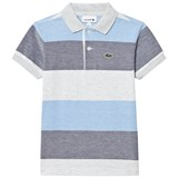 Lacoste Blue and Grey Pique Polo