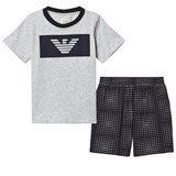 Armani Junior Navy and Grey Branded Tee and Shorts Set