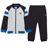 Armani Junior Navy, Grey and White Branded Tracksuit Set