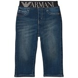 Armani Junior Blue Mid Wash Branded Waistband Jeans