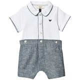 Armani Junior White and Chambray Branded Romper