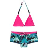 O'Neill Black and Pink Palm Print Selva Shorty Bikini