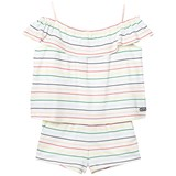 Chloé White Rainbow Stripe Asymmetric Playsuit