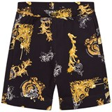 Young Versace Black and Gold Baroque Shorts