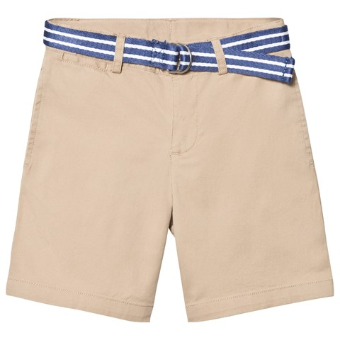 Beige Classic Chino Shorts with Belt