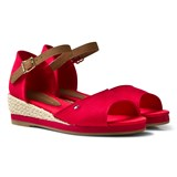 Tommy Hilfiger Red Branded Canvas Wedge Sandals