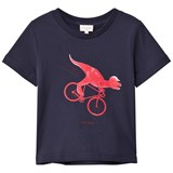 Paul Smith Junior Navy Dinosaur On Bike Print Tee