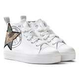 Diesel White Wedged Star Hi Top Trainers