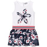 Jeycat White and Navy Floral Butterfly Applique Dress