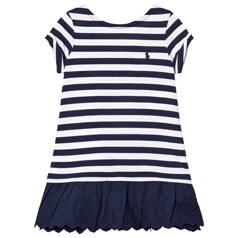 Ralph Lauren Navy Stripe Tee Dress with Eyelet Hem