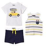 Mayoral White Dog and Car Print Tee, Vest and Shorts Set