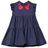 Vivetta Navy Tiered Dress with Heart Embroidered Collar