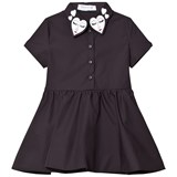 Vivetta Black Shirt Dress with Heart Embroidred Collar