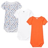 Petit Bateau 3 Pack of Orange, White and Grey Car Print and Solid Short Sleeve Bodies