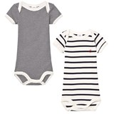 Petit Bateau 2 Pack of Navy and Cream Short Sleeve Bodies
