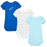 Petit Bateau Pack of 3 Blue, Stripe and Tiger Print Short Sleeve Bodies