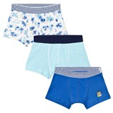 Petit Bateau 3 Pack of Blue Stripe, Solid and Leaf Print Trunks
