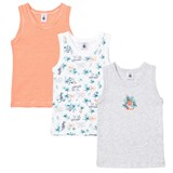 Petit Bateau 3 Pack of Red Stripe, Grey and Jungle Print Vest