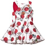 Jessie & James White and Red Floral and Spot Pleated Anna Dress with Bow Detail