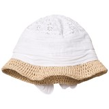 Grevi White Broderie Anglaise and Raffia Sun Hat with Bow