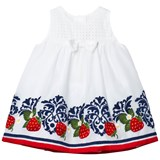 Monnalisa White Embroidered Strawberry Party Dress