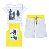 Mayoral Grey Tee, Vest and Jersey Shorts Set