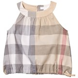Burberry Beige Classic Check Flo Sleeveless Top with Gathered Waist