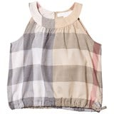 Burberry Beige Classic Check Mini Flo Sleeveless Top with Gathered Waist