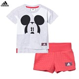 adidas Grey and Red Micky Mouse Shorts and Tee Set