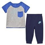 Nike Grey and Navy Infants Air French Terry Tee and Joggers Set