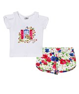 Mayoral White Floral Window Top and Shorts Set