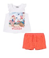 Mayoral White Puppy Print and Diamante Vest and Ruffle Shorts Set