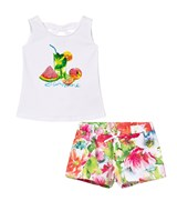 Mayoral Multi Tropical Print and Diamante Vest and Shorts Set