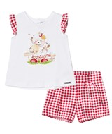 Mayoral Red Gingham and Bear Print Tee and Shorts Set