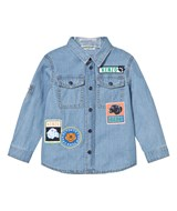 Kenzo Kids Blue Chambray Badge Shirt