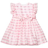 Il Gufo Pink Stripe Silk Seersucker Frill and Bow Dress