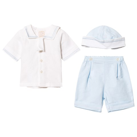 White and Pale Blue Shirt Trousers and Hat Set