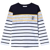 DKNY Black, Grey and Yellow Striped Branded Tee