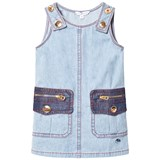 Little Marc Jacobs Washed Denim Pocket Dress with Gold Buttons