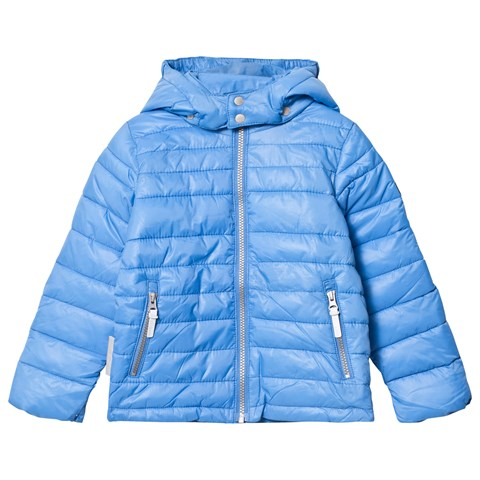 French Blue Lightweight Padding Chris Jacket With Detachable Hood