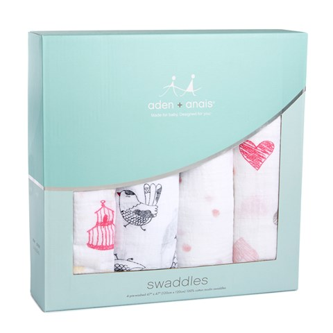 Aden + Anais Pack of 4 Classic Lovebird Swaddles