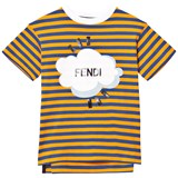 Fendi Orange and Navy Stripe Branded Tee