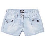 Karl Lagerfeld Kids Blue Denim Shorts with Grommet Detail