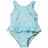 Snapper Rock Pale Blue and Gold Horse Skirt Swimsuit