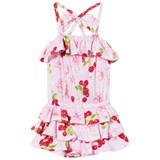 Kate Mack - Biscotti Pink Flower and Cherries Print Ruffle Playsuit