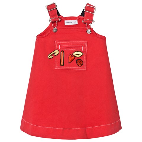 Red Applique Dungaree Dress