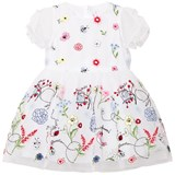Simonetta White Embroidered Flower Tulle Dress